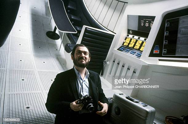 Director Stanley Kubrick on the film set for the shooting of '2001 A Space Odyssey' in 1968 in the United Kingdom
