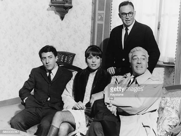 Director Stanley Prager with the cast of his film 'Madigan's Millions' Dustin Hoffman Elsa Martinelli and Cesar Romero Rome March 1967
