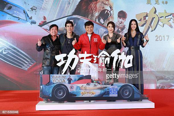 Director Stanley Tong actor and singer Aarif Rahman actor Jackie Chan actress Jiang Wen and actress Miya Muqi attend the press conference for...