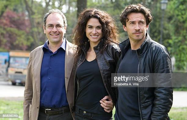 Director Stefano Incerti actors Florencia Raggi and Alessio Boni attend 'Complici Del Silenzio' photocall at Villa Borghese on April 7 2009 in Rome...