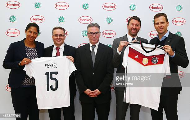 Director Steffi Jones Henkel CFO Carsten Knobel DFB Secretary General Helmut Sandrock Henkel CEO Kasper Rorsted and Oliver Bierhoff manager of the...