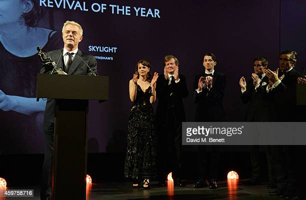 Director Stephen Daldry accepts Revival of the Year for 'Skylight' as Carey Mulligan Sir David Hare Matthew Beard presenter Eddie Redmayne and hosts...