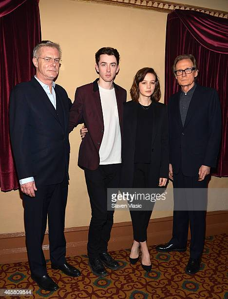 Director Stephen Daldry actors Matthew Beard Carey Mulligan and Bill Nighy attend the photo call for the Broadway production of 'Skylight' at the...