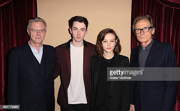 Director Stephen Daldry Matthew Beard Carey Mulligan and Bill Nighy attend the cast photo call for the Broadway production of 'Skylight' at the...