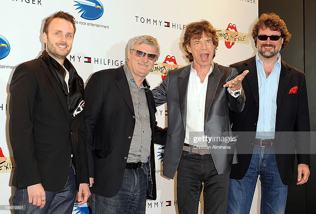 Director Stephen Kijak (L) and Mick Jagger for the Rolling Stones attend the 'Stones In Excile' Photocall at the Majestic Hotel during the 63rd Annual Cannes Film Festival on May 19, 2010 in Monaco, Monaco.