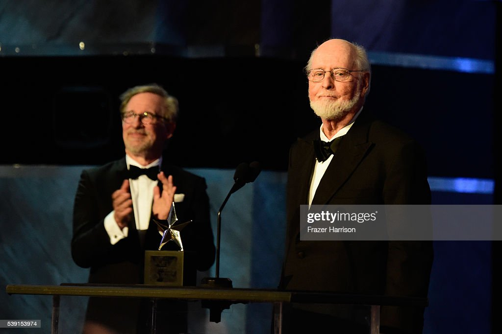 Director Stephen Spielberg (L) and Honoree John Williams (R) onstage during American Film Institute's 44th Life Achievement Award Gala Tribute show to John Williams at Dolby Theatre on June 9, 2016 in Hollywood, California. 26148_001