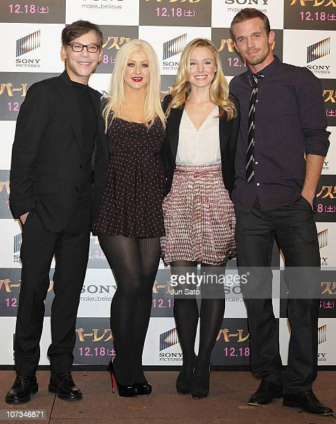 Director Steve Antin Singer/ actress Christina Aguilera actress Kristen Bell and actor Cam Gigandet attend the 'Burlesque' press conference at the...