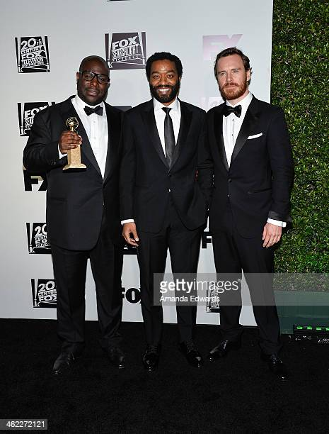 Director Steve McQueen and actors Chiwetel Ejiofor and Michael Fassbender arrive at the FOX/FX Golden Globe Party at the FOX Pavilion at the Golden...