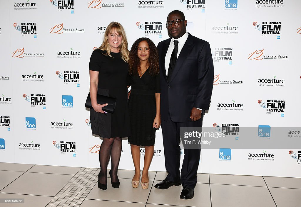 Director Steve McQueen with his wife Bianca Stigter and daughter Alex attend the European Premiere of 'Twelve Years A Slave' during the 57th BFI London Film Festival at Odeon Leicester Square on October 18, 2013 in London, England.