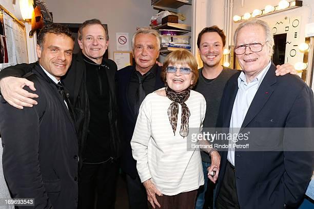 Director Steve Suissa Comedian Francis Huster Singer Michel Sardou Francoise Dorin Comedian Davy Sardou and Jean Piat backstage after...