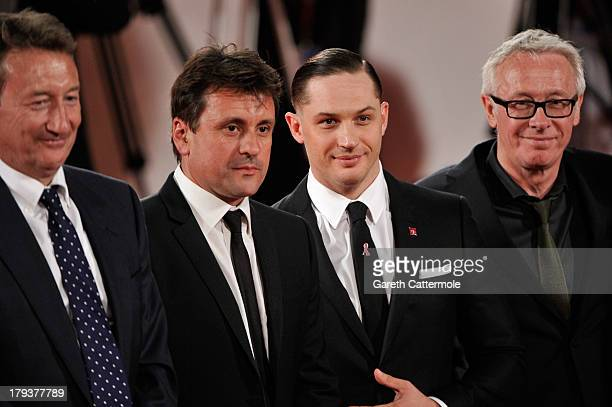 Director Steven Knight producer Guy Heeley actor Tom Hardy and producer Paul Webster attend the 'Locke' Premiere during the 70th Venice International...