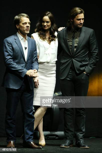 Director Steven Quale and actors Sarah Wayne Callies and Richard Armitage onstage during Warner Bros Pictures' The Big Picture an Exclusive...