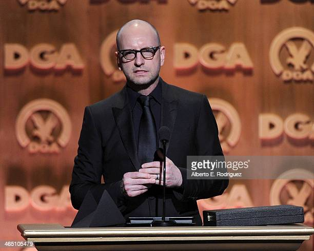 Director Steven Soderbergh accepts the Movies for Television and MiniSeries DGA Award for 'Behind the Candelabra' onstage at the 66th Annual...
