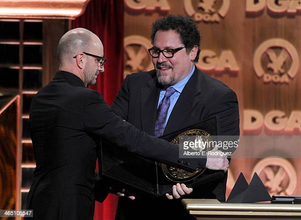 Director Steven Soderbergh accepts the Movies for Television and MiniSeries DGA Award for 'Behind the Candelabra' from director/actor Jon Favreau...