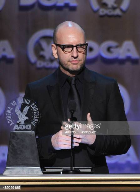 Director Steven Soderbergh accepts the Robert B Aldrich Service Award onstage at the 66th Annual Directors Guild Of America Awards held at the Hyatt...