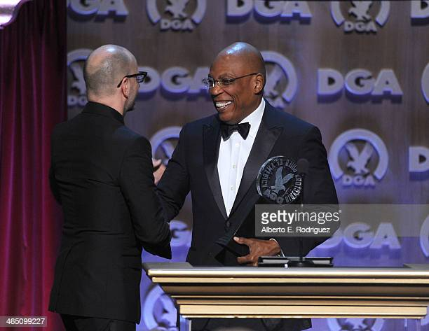 Director Steven Soderbergh accepts the Robert B Aldrich Service Award from DGA President Paris Barclay onstage at the 66th Annual Directors Guild Of...
