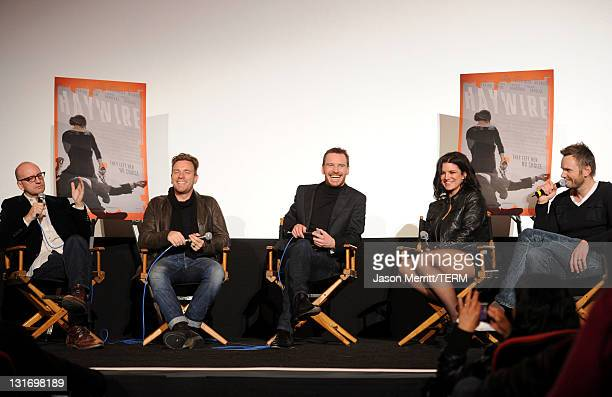 Director Steven Soderbergh actors Ewan McGregor Michael Fassbender and Gina Carano and moderator Joel McHale attend the AFI FEST 2011 Presented By...