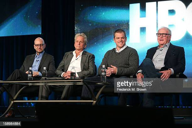 Director Steven Soderbergh actors Michael Douglas Matt Damon and executive producer Jerry Weintraub speak onstage during the 'Behind the Candelabra'...
