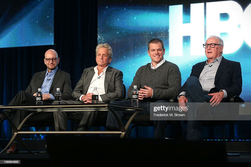 Director Steven Soderbergh, actors Michael Douglas, Matt Damon, and executive producer Jerry Weintraub speak onstage during the 'Behind the Candelabra' panel discussion at the HBO portion of the 2013 Winter TCA Tourduring 2013 Winter TCA Tour - Day 1 at Langham Hotel on January 4, 2013 in Pasadena, California.