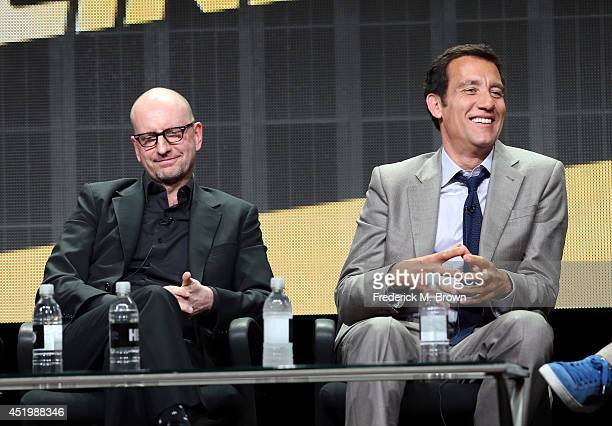 Director Steven Soderbergh and actor Clive Owen speak onstage at the 'The Knick' panel during the HBO portion of the 2014 Summer Television Critics...