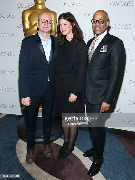 Director Steven Soderbergh Jules Asner and Patrick Harrison attend the Academy Of Motion Picture Arts And Sciences 87th Oscars viewing party and...