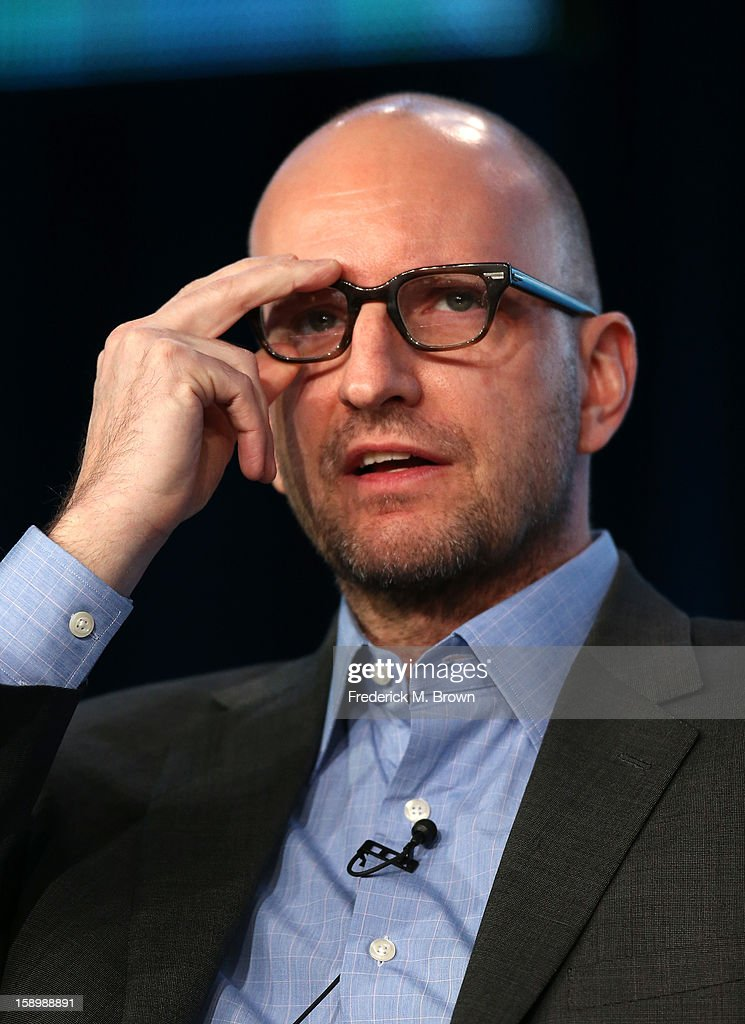 Director Steven Soderbergh speaks onstage during the 'Behind the Candelabra' panel discussion at the HBO portion of the 2013 Winter TCA Tourduring 2013 Winter TCA Tour - Day 1 at Langham Hotel on January 4, 2013 in Pasadena, California.