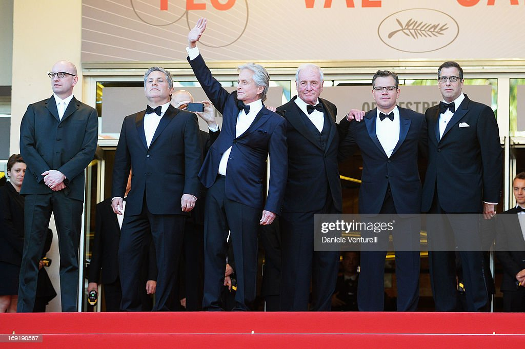 Director Steven Soderbergh, writer Greg Jacobs, actor Michael Douglas, producer Jerry Weintraub, actor Matt Damon and screenwriter Richard LaGravenese attend the Premiere of 'Behind the Candelabra' during the 66th Annual Cannes Film Festival at Palais des Festivals on May 21, 2013 in Cannes, France.
