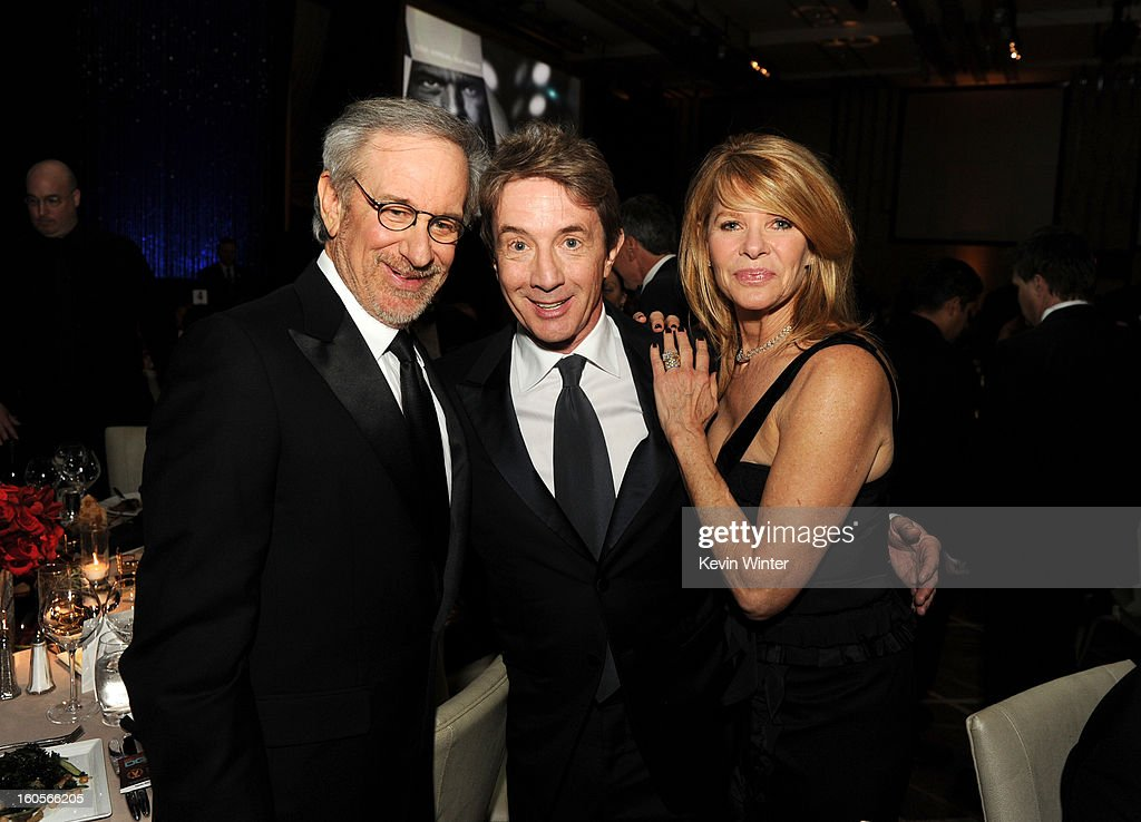 Director Steven Spielberg, actors Martin Short and Kate Capshaw attend the 65th Annual Directors Guild Of America Awards at Ray Dolby Ballroom at Hollywood & Highland on February 2, 2013 in Los Angeles, California.