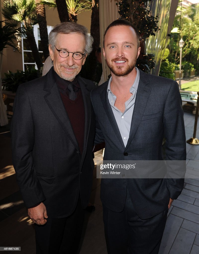 Director Steven Spielberg (L) and actor Aaron Paul attend the 14th annual AFI Awards Luncheon at the Four Seasons Hotel Beverly Hills on January 10, 2014 in Beverly Hills, California.