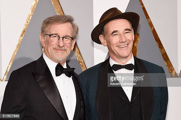 Director Steven Spielberg and actor Mark Rylance attend the 88th Annual Academy Awards at Hollywood Highland Center on February 28 2016 in Hollywood...