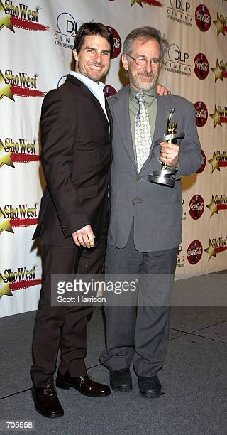 Director Steven Spielberg and actor Tom Cruise attends the ShoWest Gala Awards March 7 2002 at the Paris Hotel in Las Vegas NV Cruise presented...