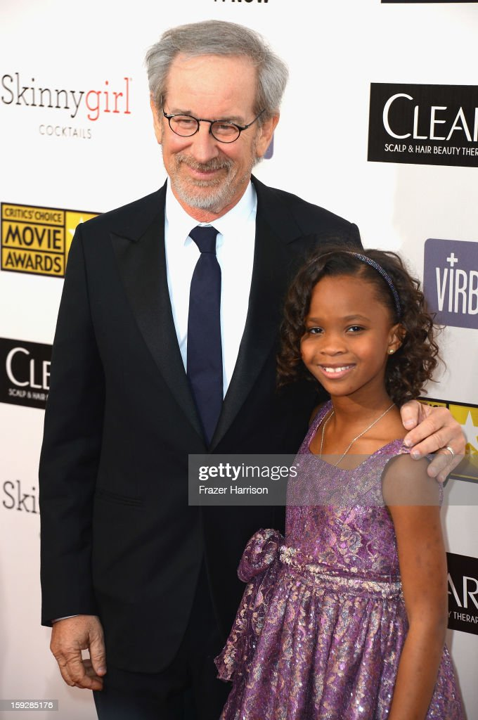 Director <a gi-track='captionPersonalityLinkClicked' href=/galleries/search?phrase=Steven+Spielberg&family=editorial&specificpeople=202022 ng-click='$event.stopPropagation()'>Steven Spielberg</a> and actress <a gi-track='captionPersonalityLinkClicked' href=/galleries/search?phrase=Quvenzhan%C3%A9+Wallis&family=editorial&specificpeople=8807270 ng-click='$event.stopPropagation()'>Quvenzhané Wallis</a> arrive at the 18th Annual Critics' Choice Movie Awards at Barker Hangar on January 10, 2013 in Santa Monica, California.