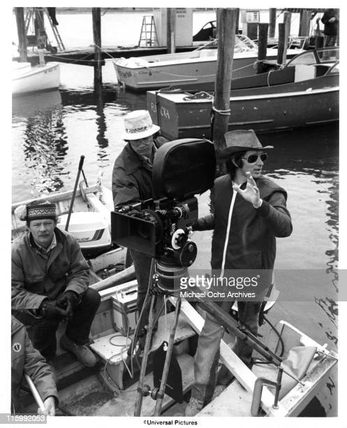 Director Steven Spielberg and camera crew on the set of the Universal Pictures production of 'Jaws' in 1975 in Martha's Vineyard Massachusetts