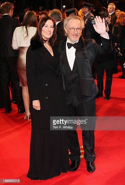 Director Steven Spielberg and Producer Kathleen Kennedy attend the UK premiere of War Horse at Odeon Leicester Square on January 8 2012 in London...