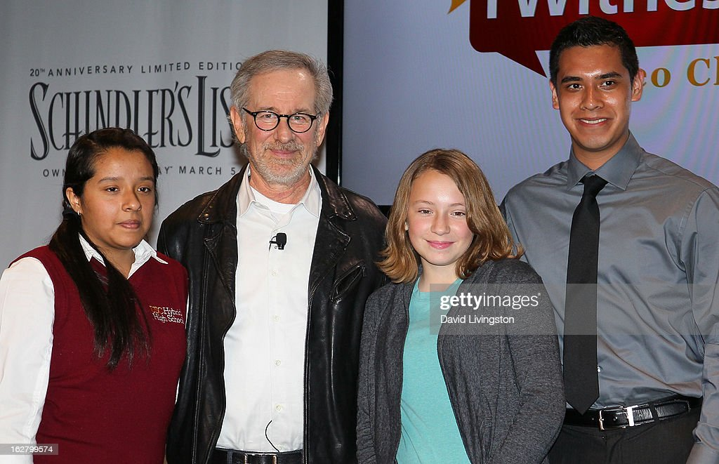 Director Steven Spielberg (2nd from L) and students attend the 'Schindler's List' 20th Anniversary Limited Edition DVD/Blu-ray & USC Shoah Foundation's IWitness Video Challenge launch event at The Chandler School on February 27, 2013 in Pasadena, California.