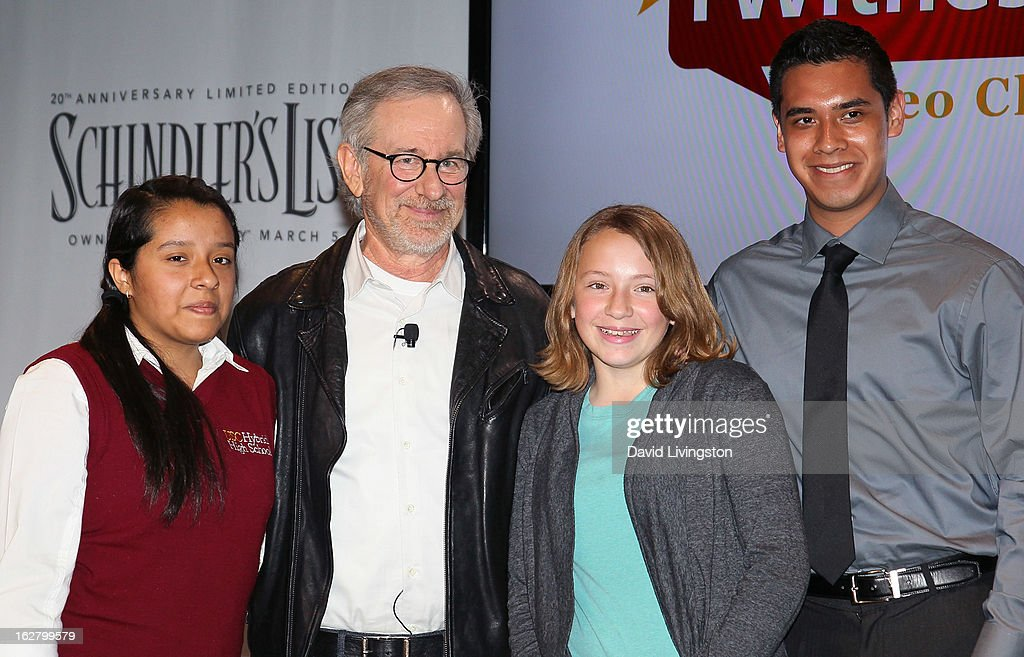 Director <a gi-track='captionPersonalityLinkClicked' href=/galleries/search?phrase=Steven+Spielberg&family=editorial&specificpeople=202022 ng-click='$event.stopPropagation()'>Steven Spielberg</a> (2nd from L) and students attend the 'Schindler's List' 20th Anniversary Limited Edition DVD/Blu-ray & USC Shoah Foundation's IWitness Video Challenge launch event at The Chandler School on February 27, 2013 in Pasadena, California.
