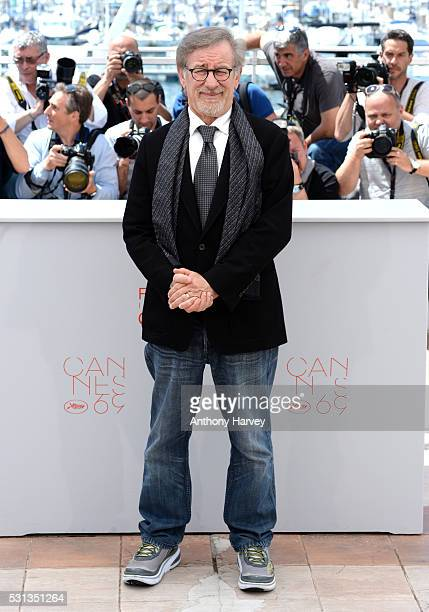 Director Steven Spielberg attends 'The BFG ' photocall during the 69th annual Cannes Film Festival at the Palais des Festivals on May 14 2016 in...