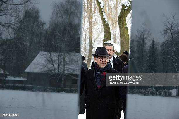US director Steven Spielberg attends the unveiling of a plaque at the former Auschwitz concentration camp on January 27 2015 at the camp's memorial...