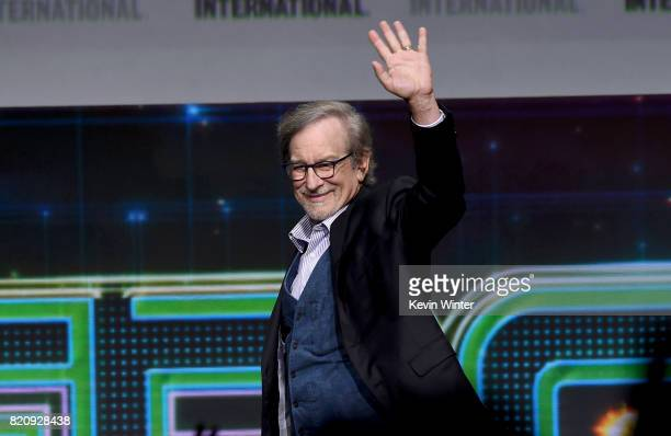 Director Steven Spielberg attends the Warner Bros Pictures Presentation during ComicCon International 2017 at San Diego Convention Center on July 22...
