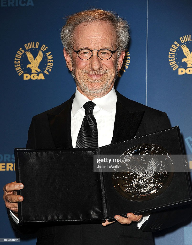 Director Steven Spielberg poses in the press room at the 65th annual Directors Guild Of America Awards at The Ray Dolby Ballroom at Hollywood & Highland Center on February 2, 2013 in Hollywood, California.