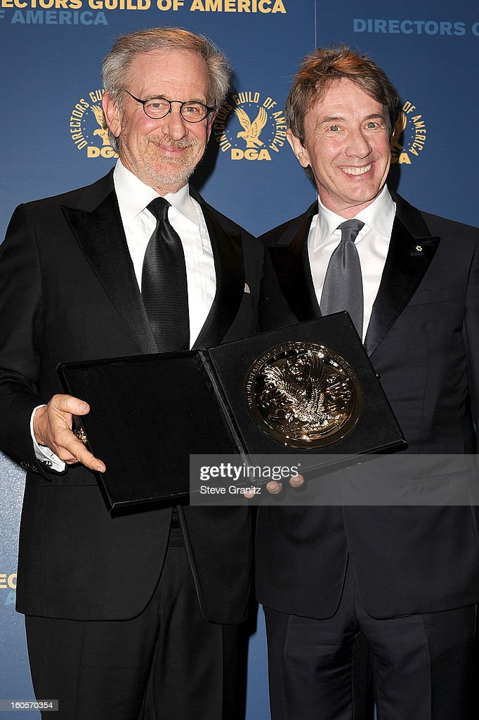 Director Steven Spielberg, recipient of the Feature Film Nomination Plaque for Lincoln,' (L) and presenter <a gi-track='captionPersonalityLinkClicked' href=/galleries/search?phrase=Martin+Short&family=editorial&specificpeople=211569 ng-click='$event.stopPropagation()'>Martin Short</a> pose in the press room at the 65th Annual Directors Guild Of America Awards at The Ray Dolby Ballroom at Hollywood & Highland Center on February 2, 2013 in Hollywood, California.