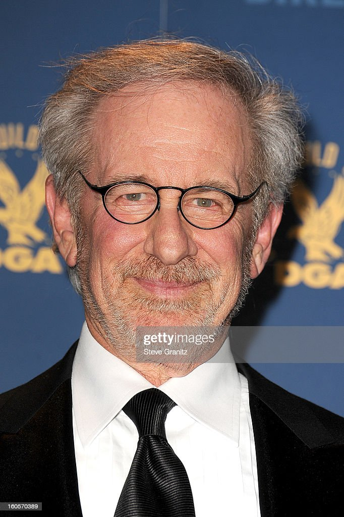 Director Steven Spielberg, recipient of the Feature Film Nomination Plaque for Lincoln,' poses in the press room at the 65th Annual Directors Guild Of America Awards at The Ray Dolby Ballroom at Hollywood & Highland Center on February 2, 2013 in Hollywood, California.