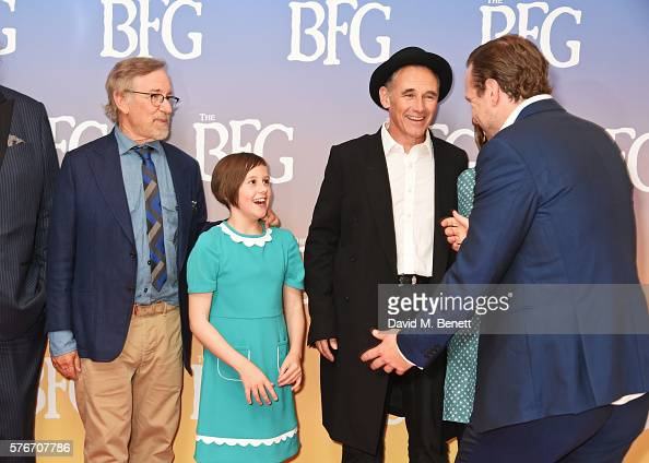 Director Steven Spielberg Ruby Barnhill Mark Rylance and Rafe Spall attend the UK Premiere of 'The BFG' at Odeon Leicester Square on July 17 2016 in...