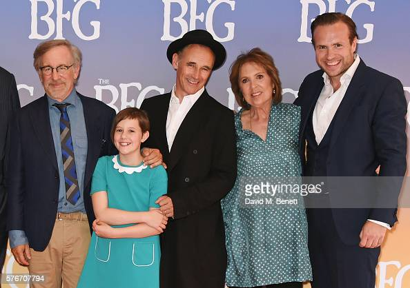 Director Steven Spielberg Ruby Barnhill Mark Rylance Dame Penelope Wilton and Rafe Spall attend the UK Premiere of 'The BFG' at Odeon Leicester...