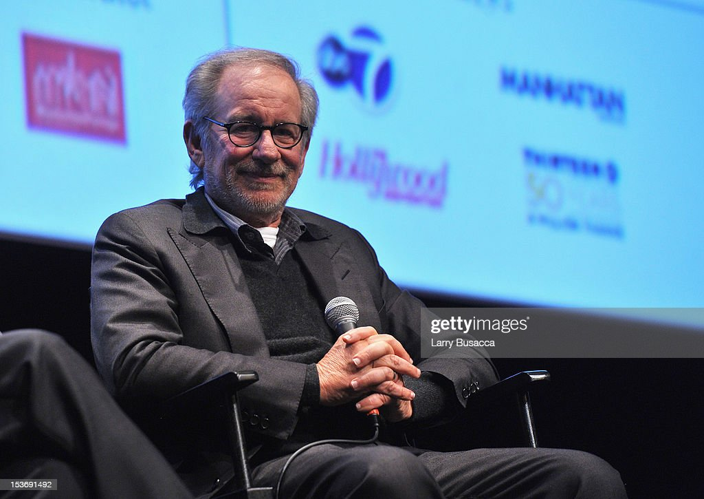 Director <a gi-track='captionPersonalityLinkClicked' href=/galleries/search?phrase=Steven+Spielberg&family=editorial&specificpeople=202022 ng-click='$event.stopPropagation()'>Steven Spielberg</a> speaks onstage at NYFF 50th Anniversary surprise screening of Lincoln at Alice Tully Hall on October 8, 2012 in New York City.