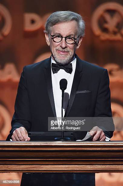 Director Steven Spielberg speaks onstage at the 67th Annual Directors Guild Of America Awards at the Hyatt Regency Century Plaza on February 7 2015...