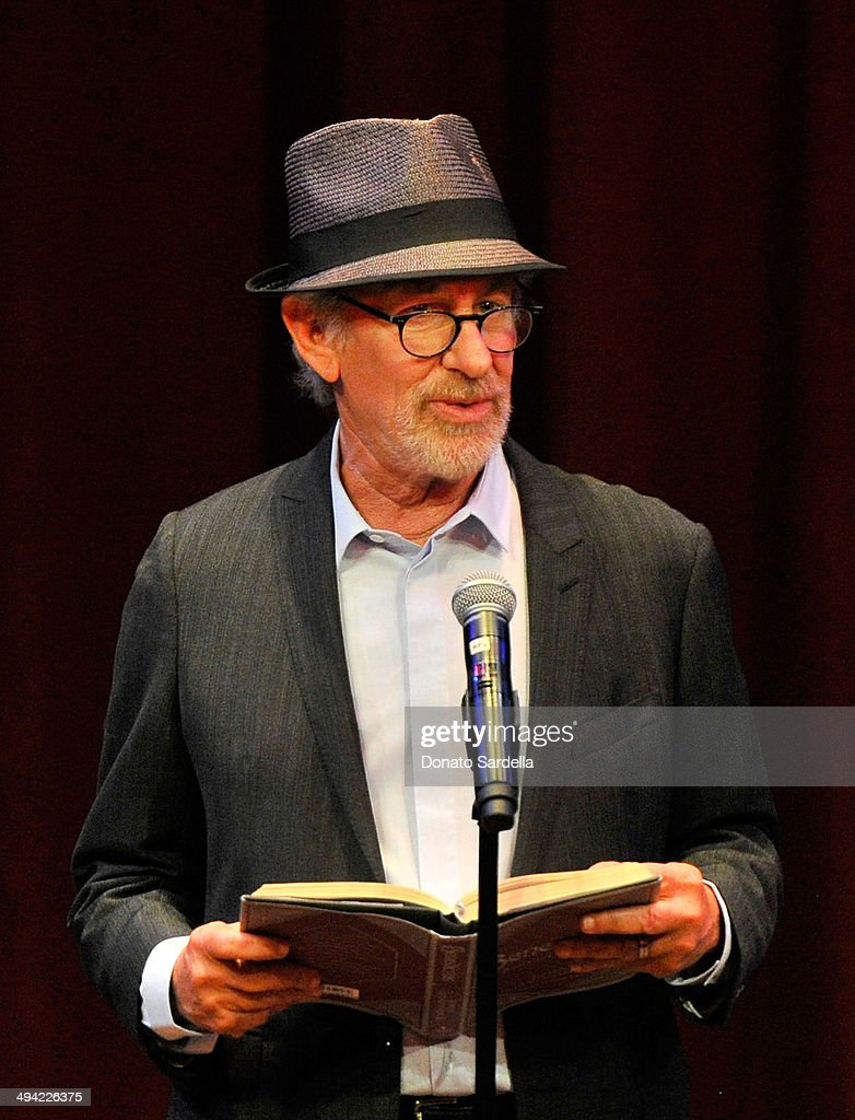 Director <a gi-track='captionPersonalityLinkClicked' href=/galleries/search?phrase=Steven+Spielberg&family=editorial&specificpeople=202022 ng-click='$event.stopPropagation()'>Steven Spielberg</a> speaks onstage at the first annual Poetic Justice Fundraiser for the Coalition For Engaged Education at the Herb Alpert Educational Village on May 28, 2014 in Santa Monica, California.