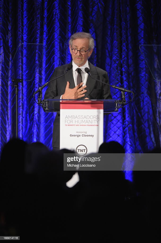 Director <a gi-track='captionPersonalityLinkClicked' href=/galleries/search?phrase=Steven+Spielberg&family=editorial&specificpeople=202022 ng-click='$event.stopPropagation()'>Steven Spielberg</a> speaks onstage at the USC Shoah Foundation Institute 2013 Ambassadors for Humanity gala at the American Museum of Natural History on October 3, 2013 in New York, New York.