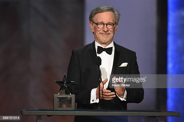 Director Steven Spielberg speaks onstage during American Film Institute's 44th Life Achievement Award Gala Tribute to John Williams at Dolby Theatre...