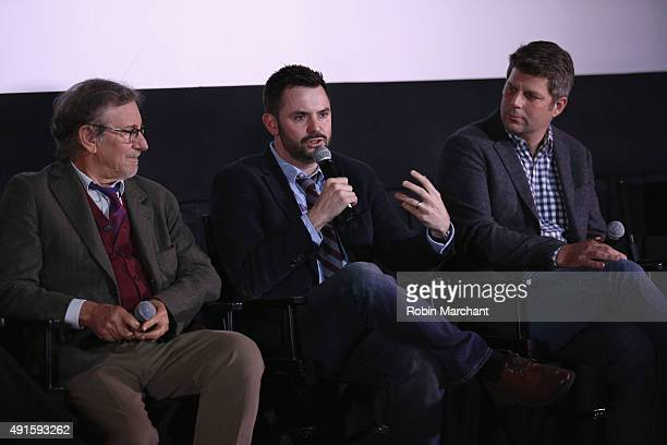 Director Steven Spielberg writer Matt Charman and production designer Adam Stockhausen attend The Academy Of Motion Picture Arts And Sciences Hosts...